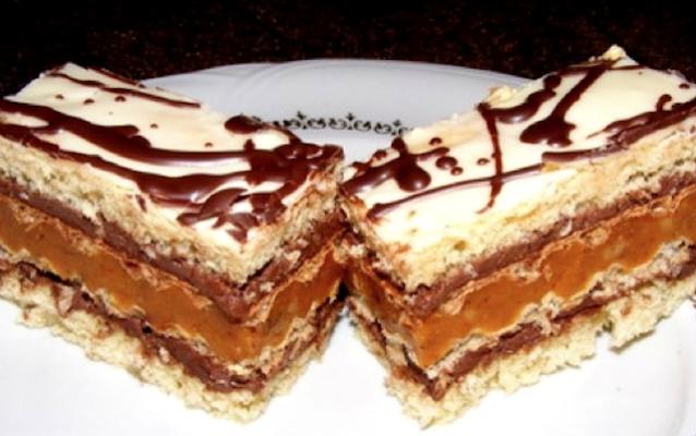 Prăjitură grozava cu nuca si foi de napolitane.