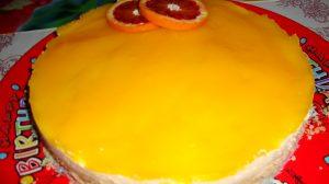 Prajitura cu budinca de vanilie si jeleu de portocale