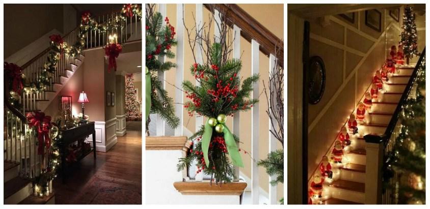 Idei minunate pline de culoare pentru a decora scarile casei de Craciun