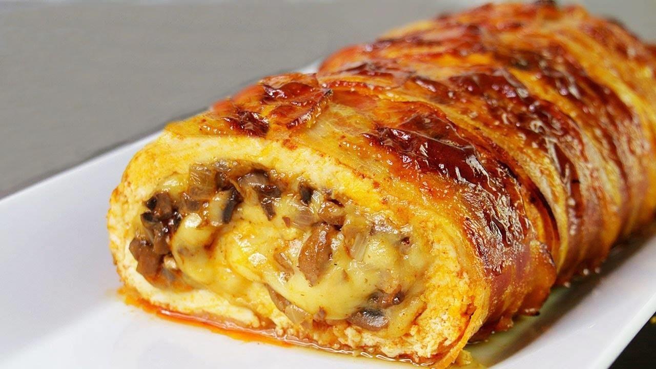 Ruladă din piept de pui și bacon – cu umplutură din ciuperchi champignon și cașcaval