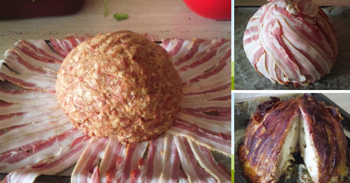 Conopida impachetata in carne tocata si bacon