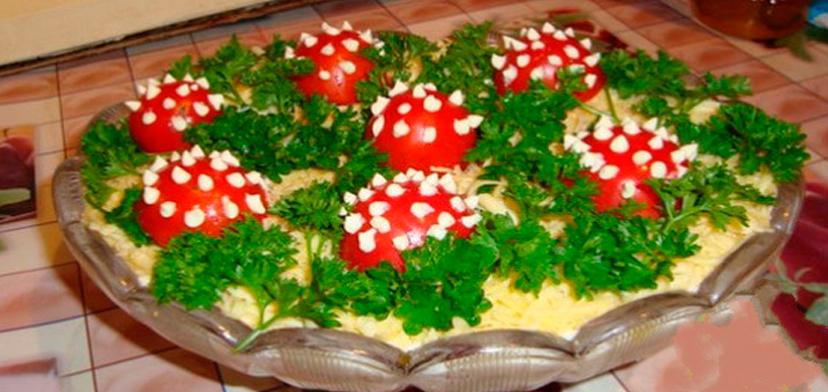 """Salată """"Poiana cu ciuperci și pui"""" – cea mai colorată, apetisantă, gustoasă și originală gustare pentru masa festivă!"""