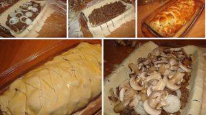 Placinta cu carne si ciuperci