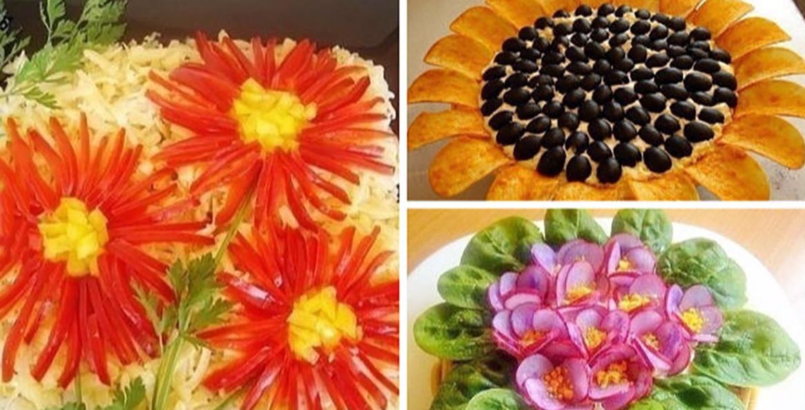 Top 3 salate ornate în formă de flori, excelente pentru masa de Crăciun sau Revelion!