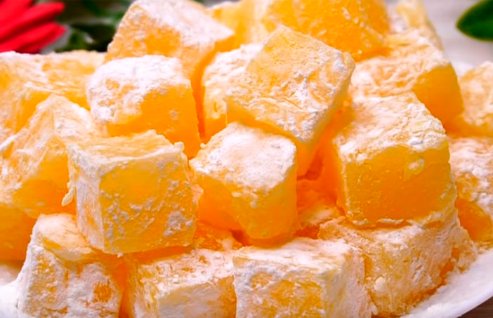 Rahat turcesc de portocale, pregătit acasă. Ușor de gătit!