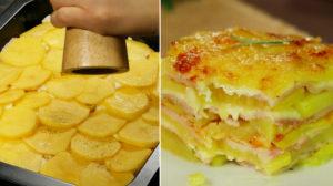 Un deliciu nemaipomenit din cartofi, care se prepară extrem de rapid – cartofi gratinați cu șuncă și cașcaval!