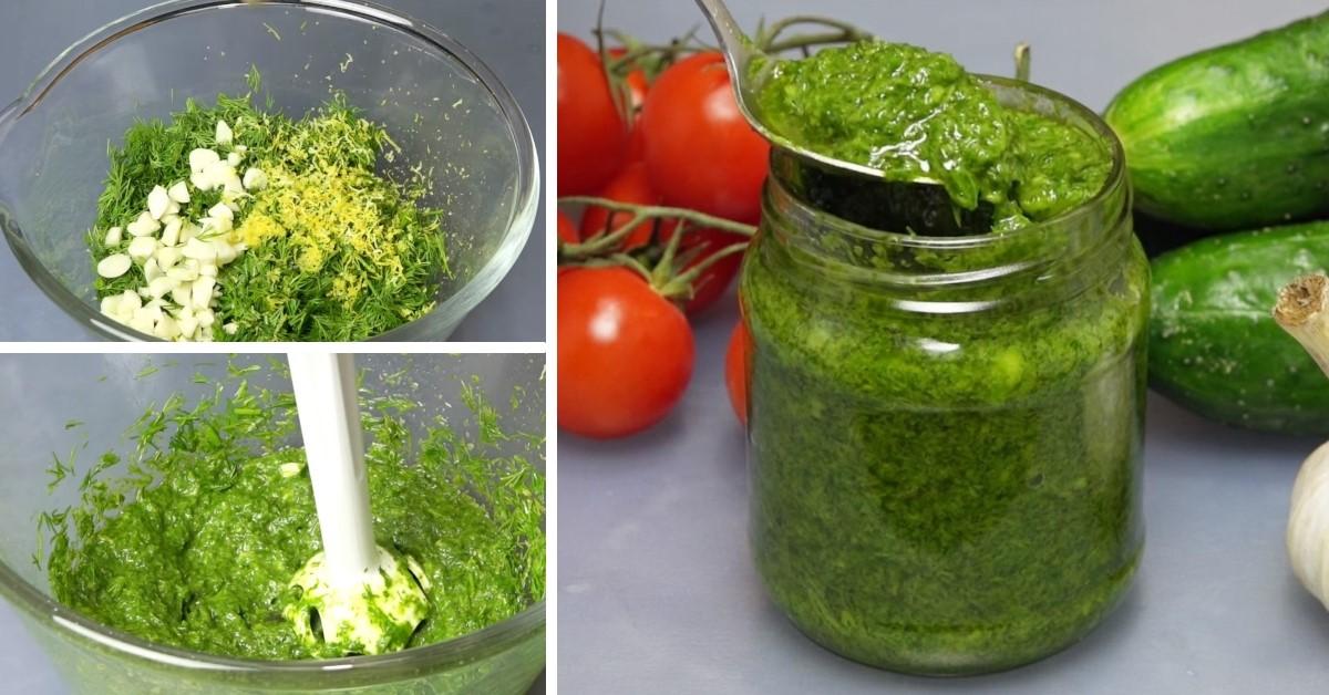 Pastă de mărar, cu usturoi și ulei de măsline: potrivită pentru orice fel de mâncare!